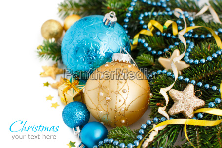 turquoise and golden christmas ornaments border