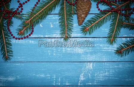 vintage background with branches of spruce