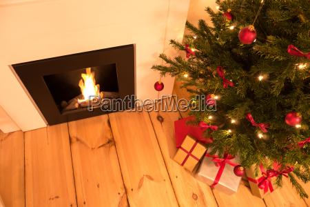 chimney and christmas tree