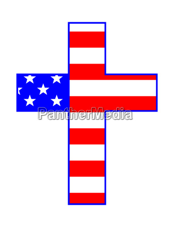 usa stars and stripes and cross
