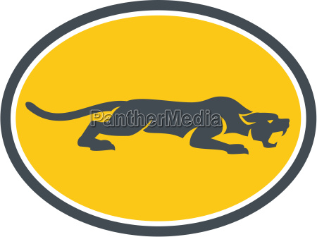 black panther prowling oval retro