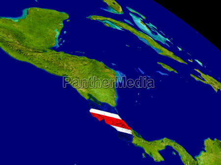 costa rica with flag on earth