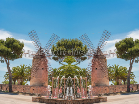 photomontage two old historic windmill