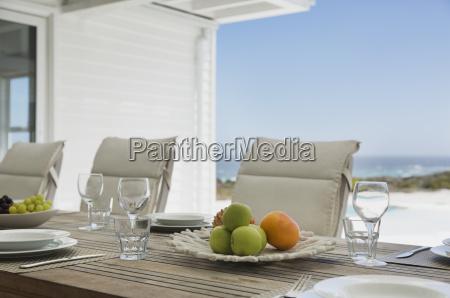placesettings on beach house patio table