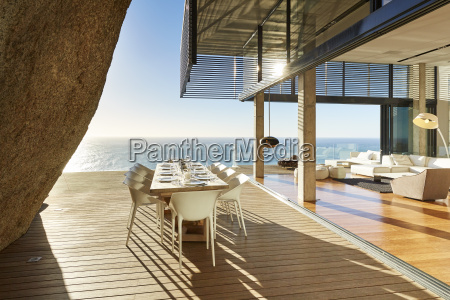 modern luxury dining table on sunny