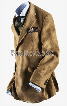 tan colored sports jacket with blue
