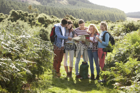 group of young people on camping