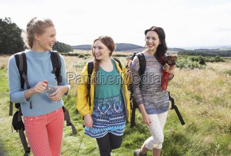 group of teenage girls hiking in
