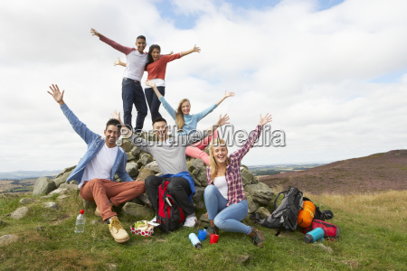 group of young people hiking in