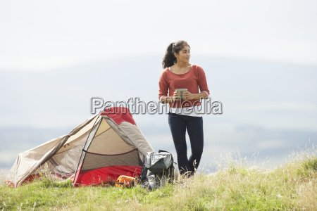 teenage girl on camping trip in