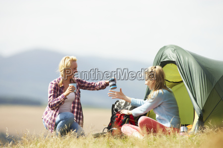 two teenage girls on camping trip
