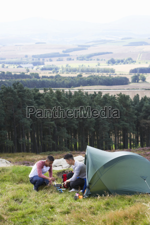 two young men on camping trip