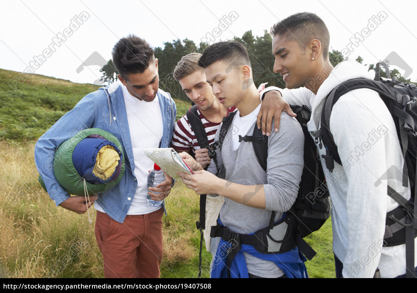 group, of, young, men, on, camping - 19407508