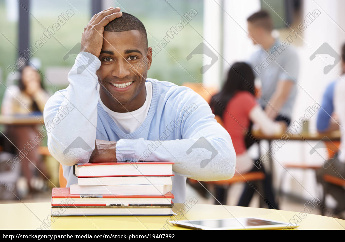 male, student, studying, in, classroom, with - 19407892