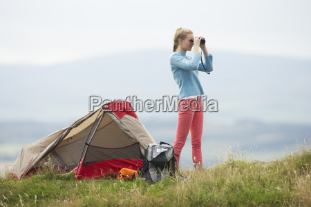 teenage, girl, on, camping, trip, in - 19407606
