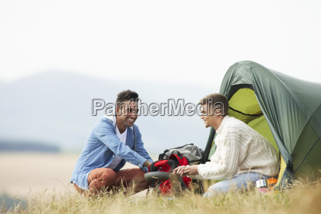 two, young, men, on, camping, trip - 19407704