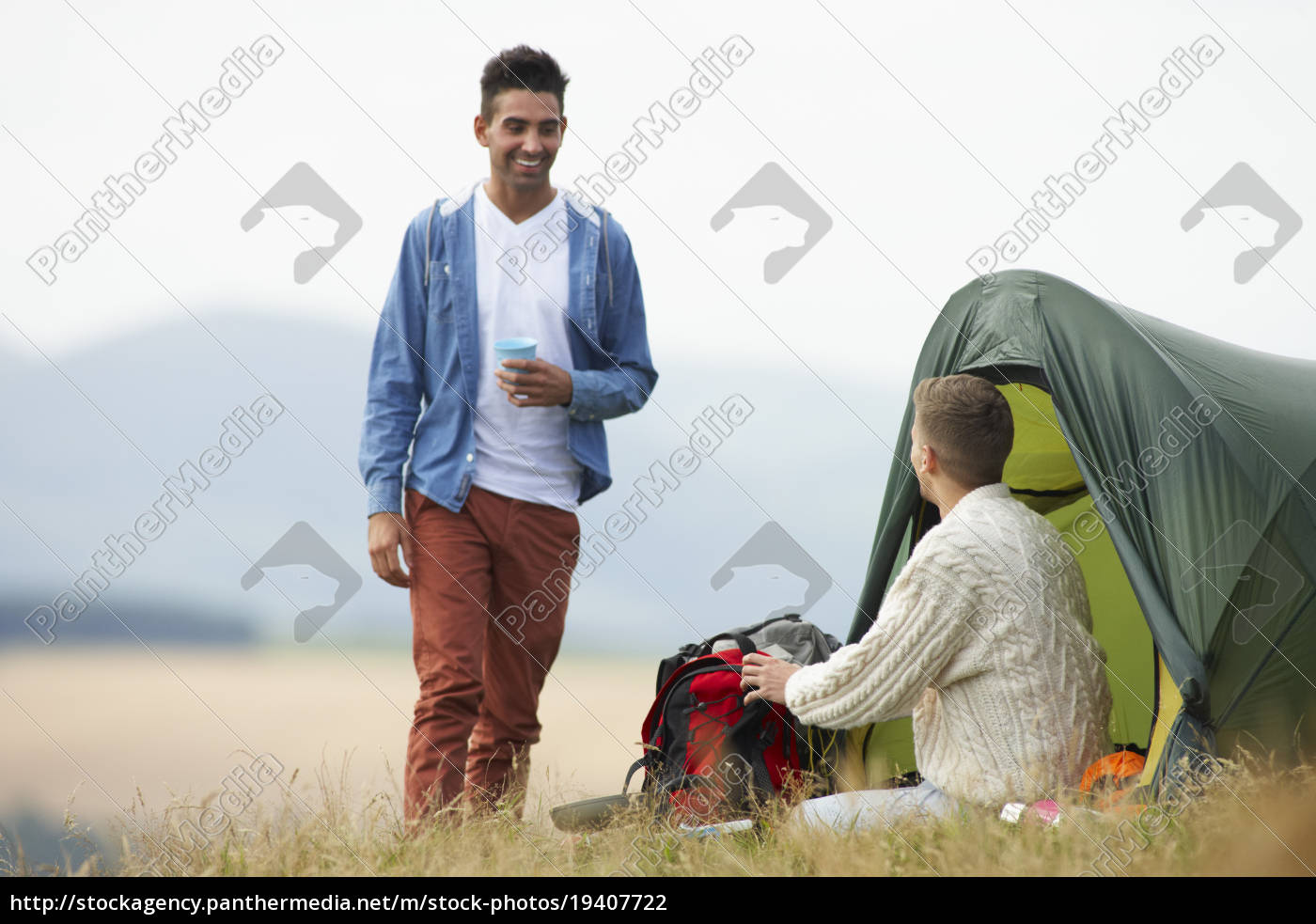 two, young, men, on, camping, trip - 19407722