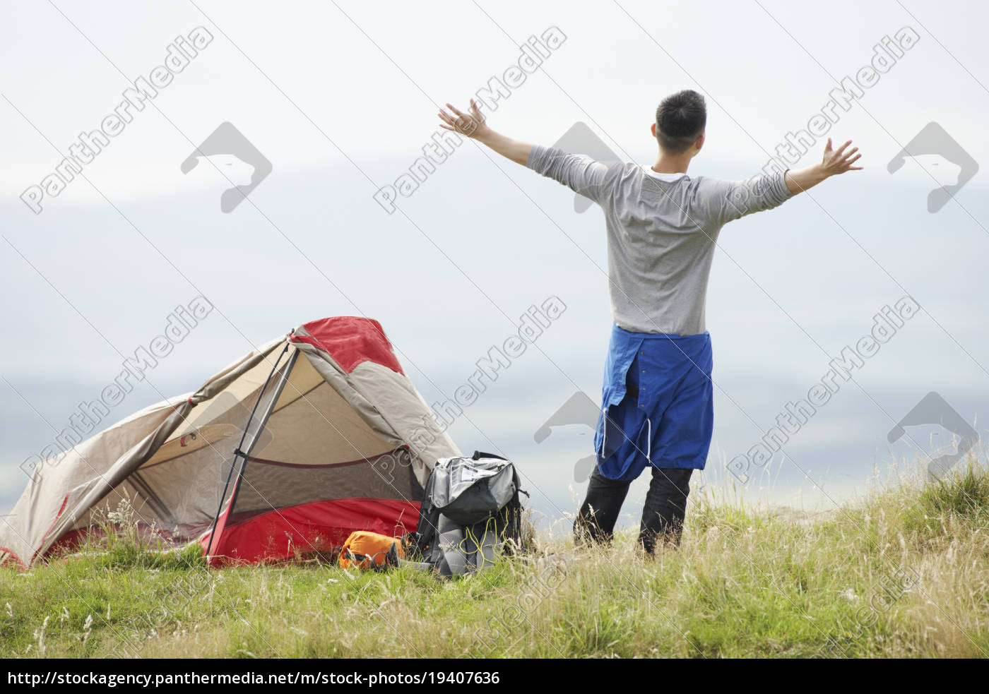 young, man, on, camping, trip, in - 19407636
