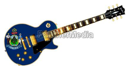 maine state flag guitar
