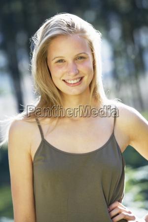 portrait of attractive teenage girl in