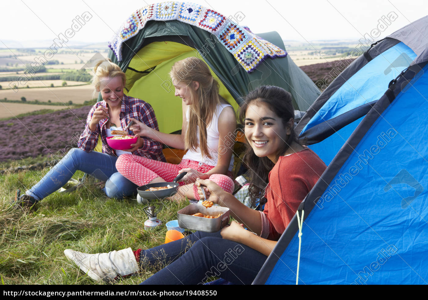 group, of, teenage, girls, on, camping - 19408550