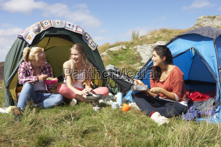 group, of, teenage, girls, on, camping - 19408552