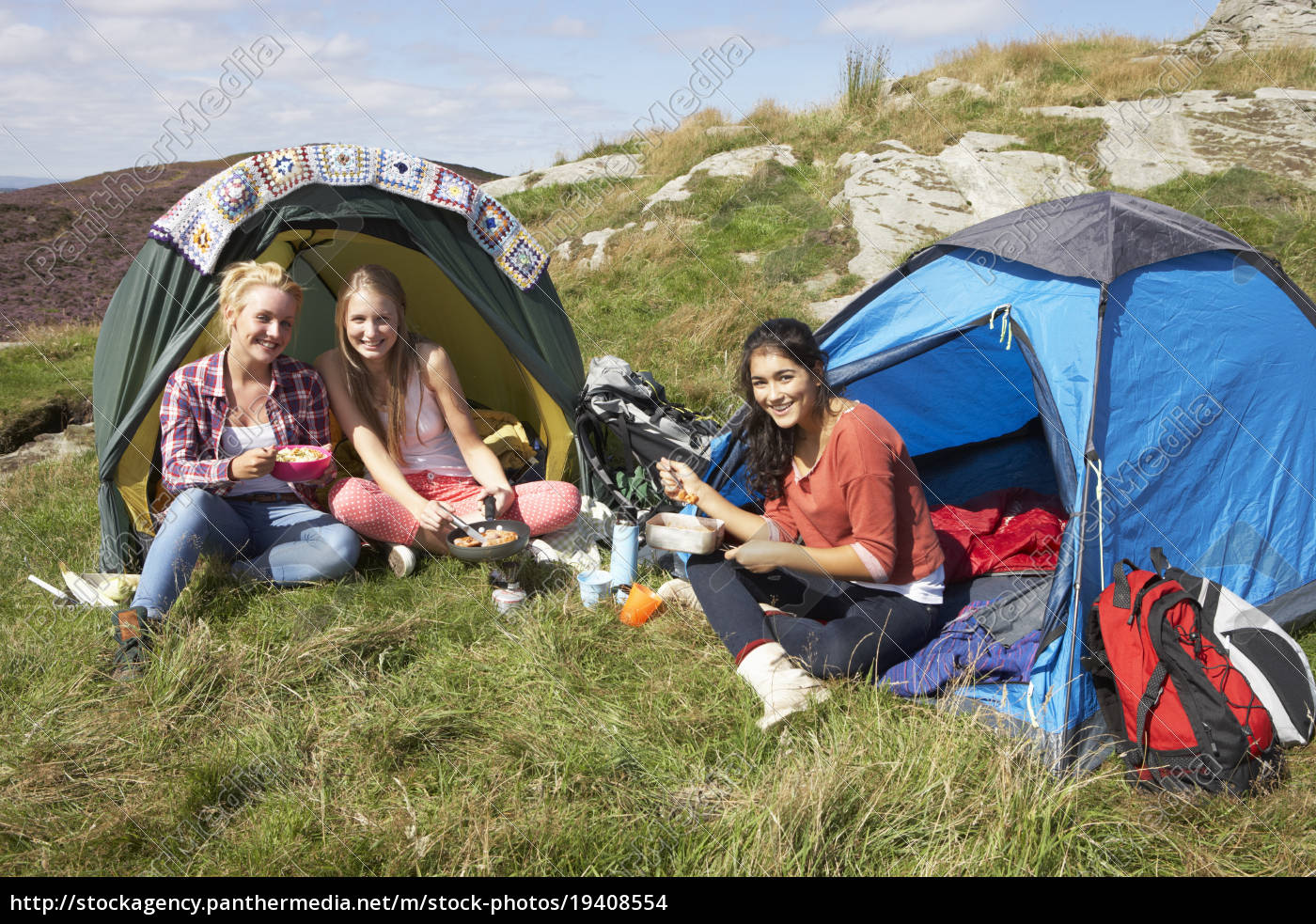 group, of, teenage, girls, on, camping - 19408554
