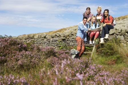 group, of, young, people, hiking, through - 19408662