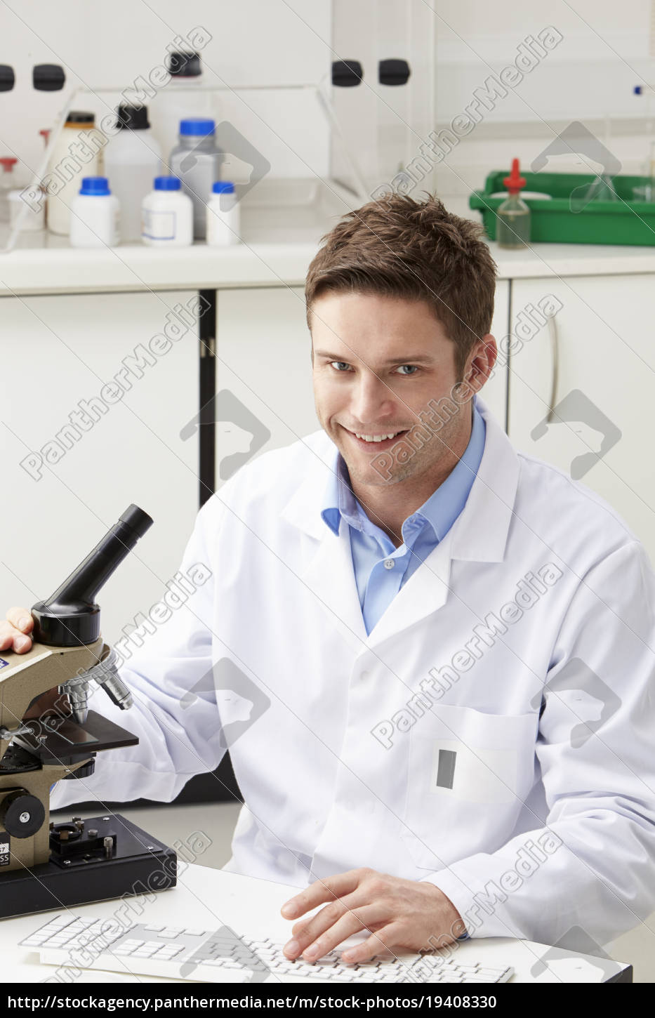 portrait, of, scientist, with, microscope, in - 19408330