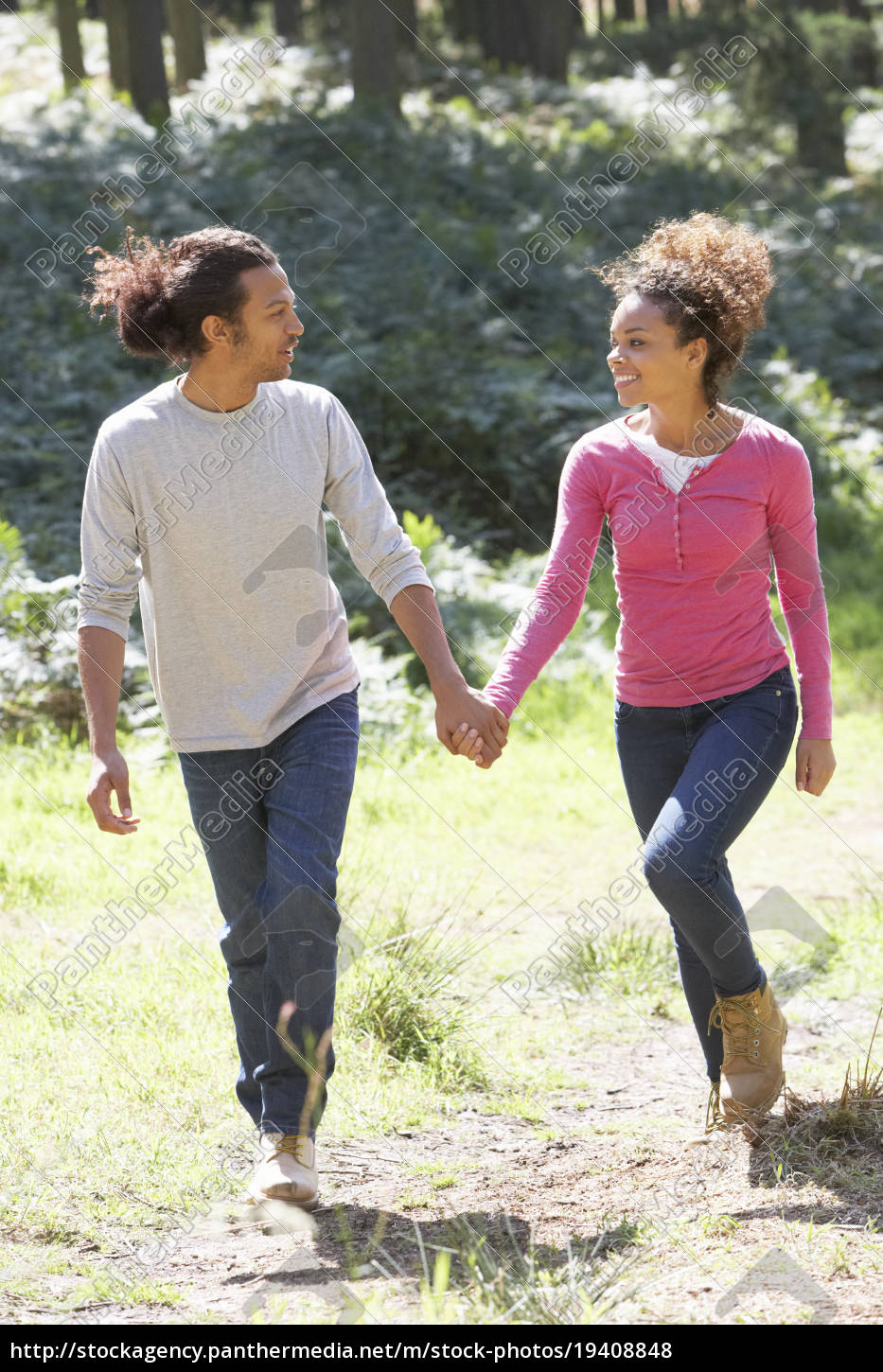 romantic, young, couple, walking, in, countryside - 19408848