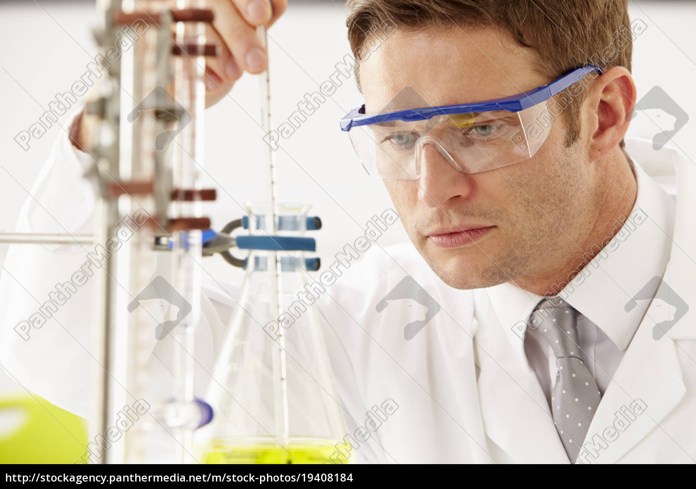 scientist, studying, liquid, in, flask - 19408184