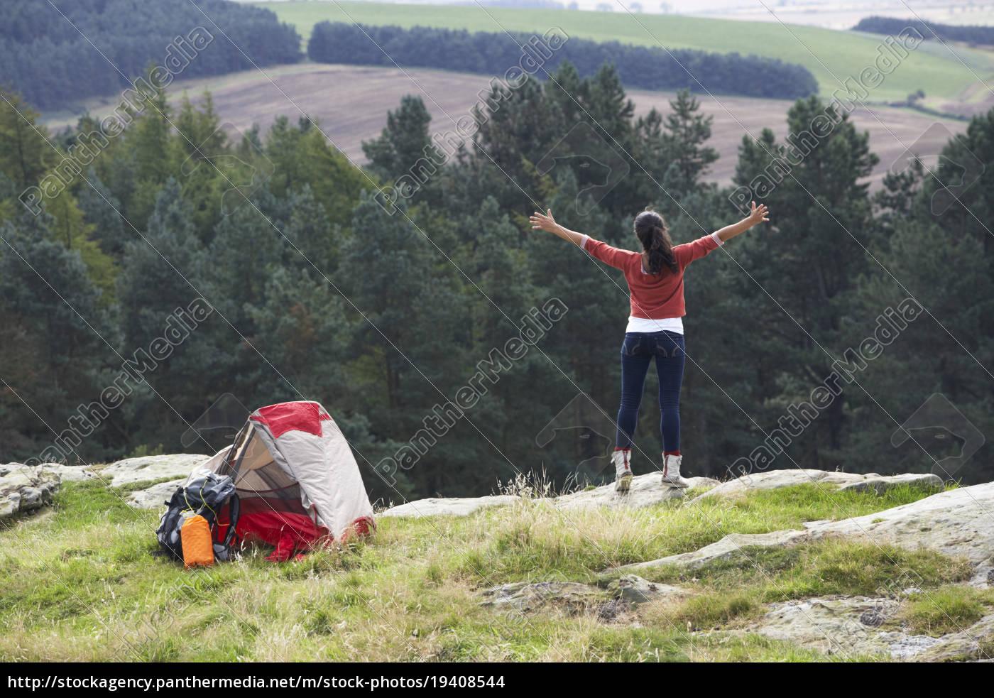 teenage, girl, on, camping, trip, in - 19408544