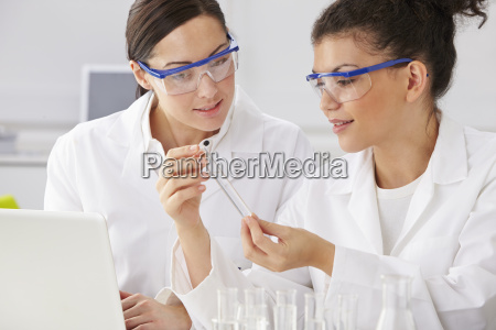 two, female, technicians, working, in, laboratory - 19408138