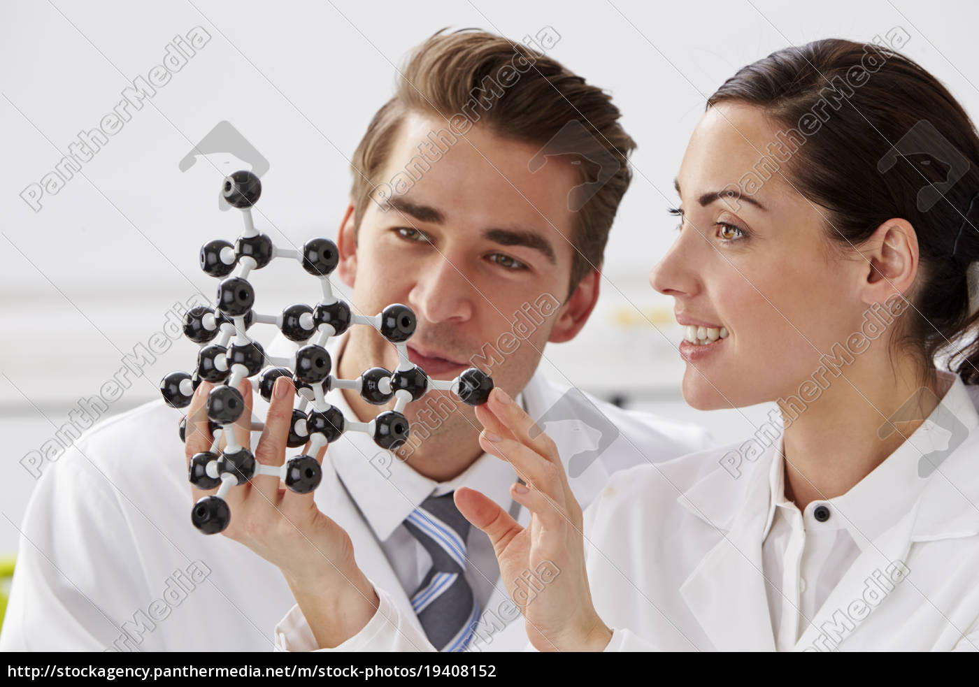 two, technicians, looking, at, molecular, model - 19408152