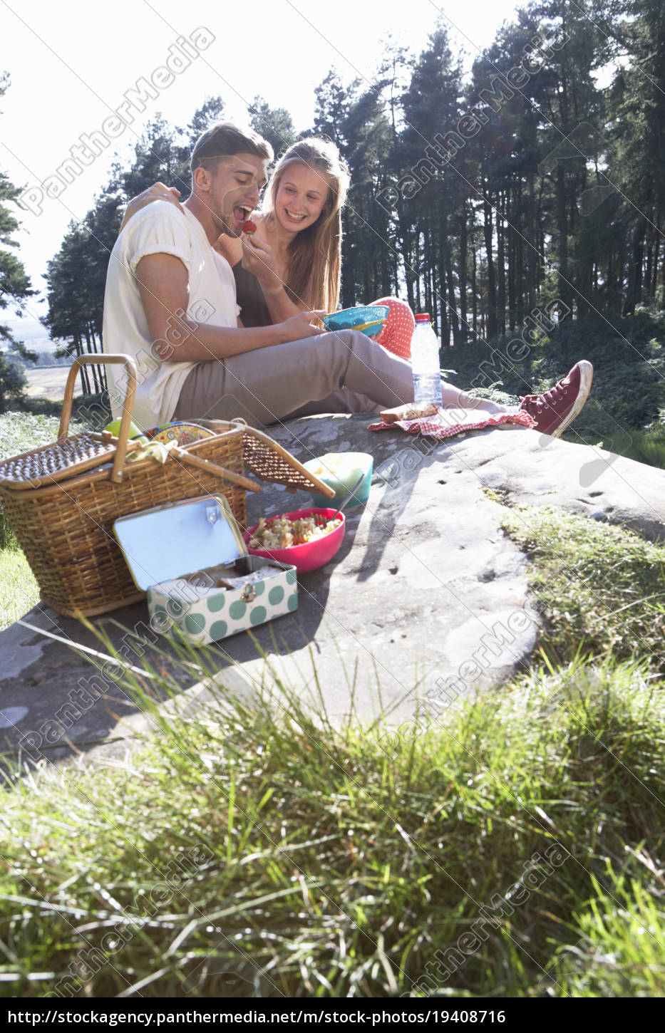 young, couple, enjoying, picnic, in, countryside - 19408716