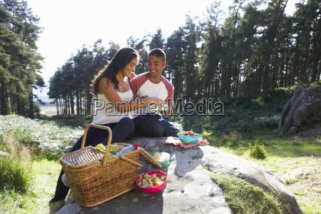 young, couple, enjoying, picnic, in, countryside - 19408728