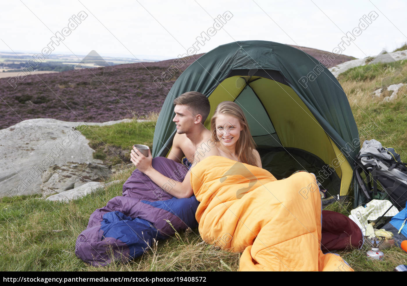 young, couple, on, camping, trip, in - 19408572