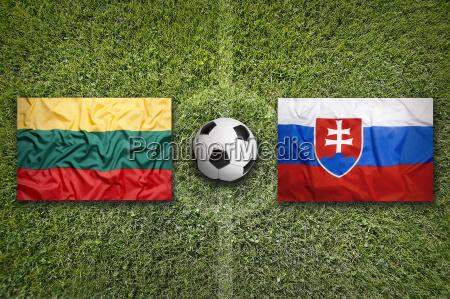 lithuania vs slovakia flags on soccer