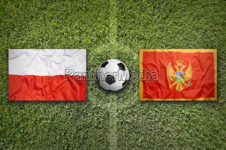 poland vs montenegro flags on soccer