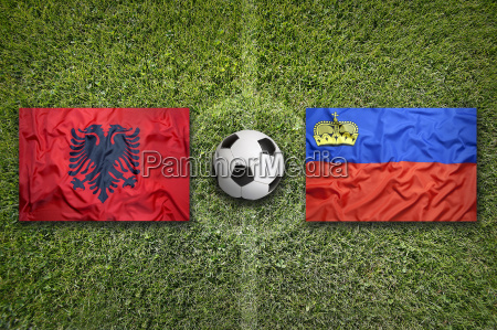 albania vs liechtenstein flags on soccer