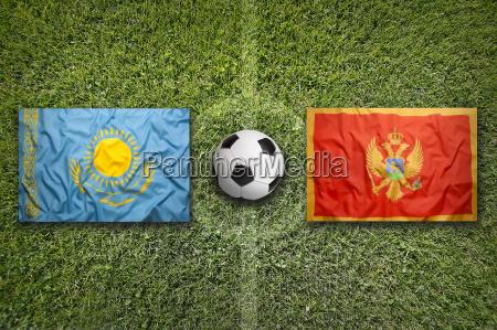 kazakhstan vs montenegro flags on soccer
