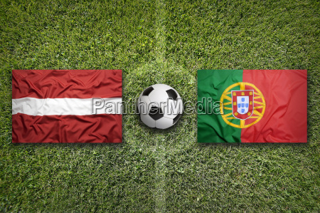 latvia vs portugal flags on soccer