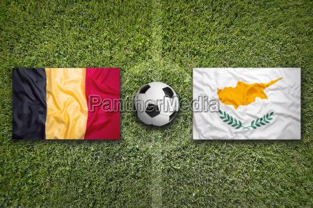belgium vs cyprus flags on soccer