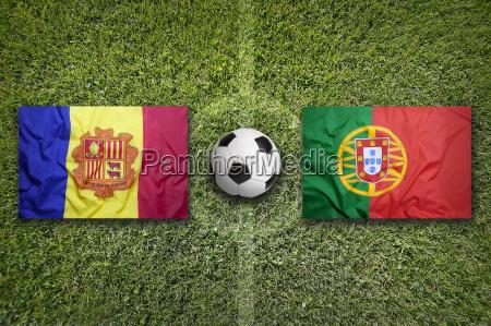 andorra vs portugal flags on soccer