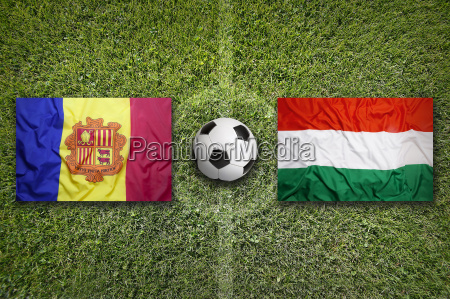 andorra vs hungary flags on soccer