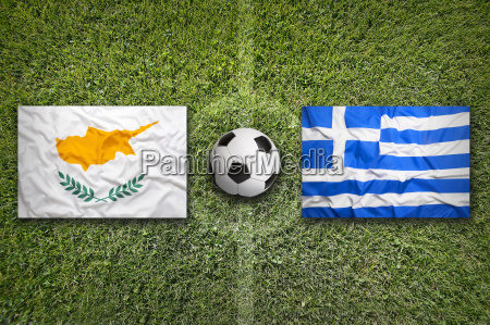 cyprus vs greece flags on soccer