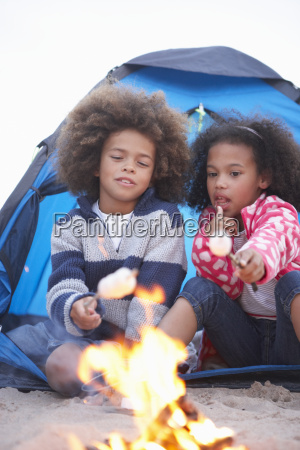 children, camping, on, beach, and, toasting - 19409010