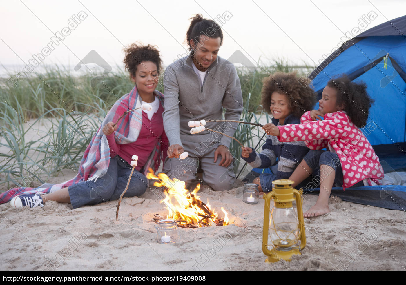 family, camping, on, beach, and, toasting - 19409008