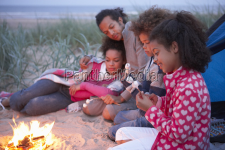 family, camping, on, beach, and, toasting - 19409020