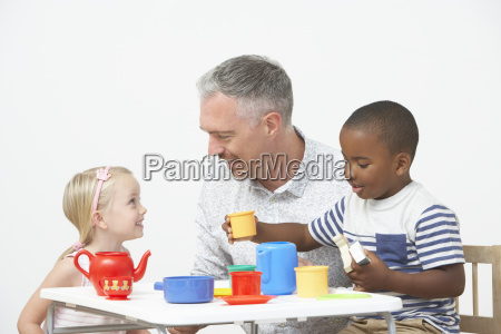 pre, school, children, enjoying, tea, party - 19409120